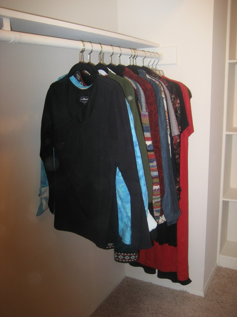 closet rod up high for long hanging clothes