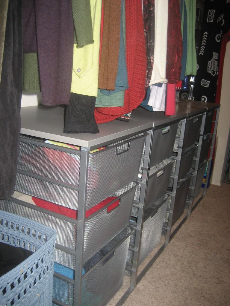 elfa drawers in closet