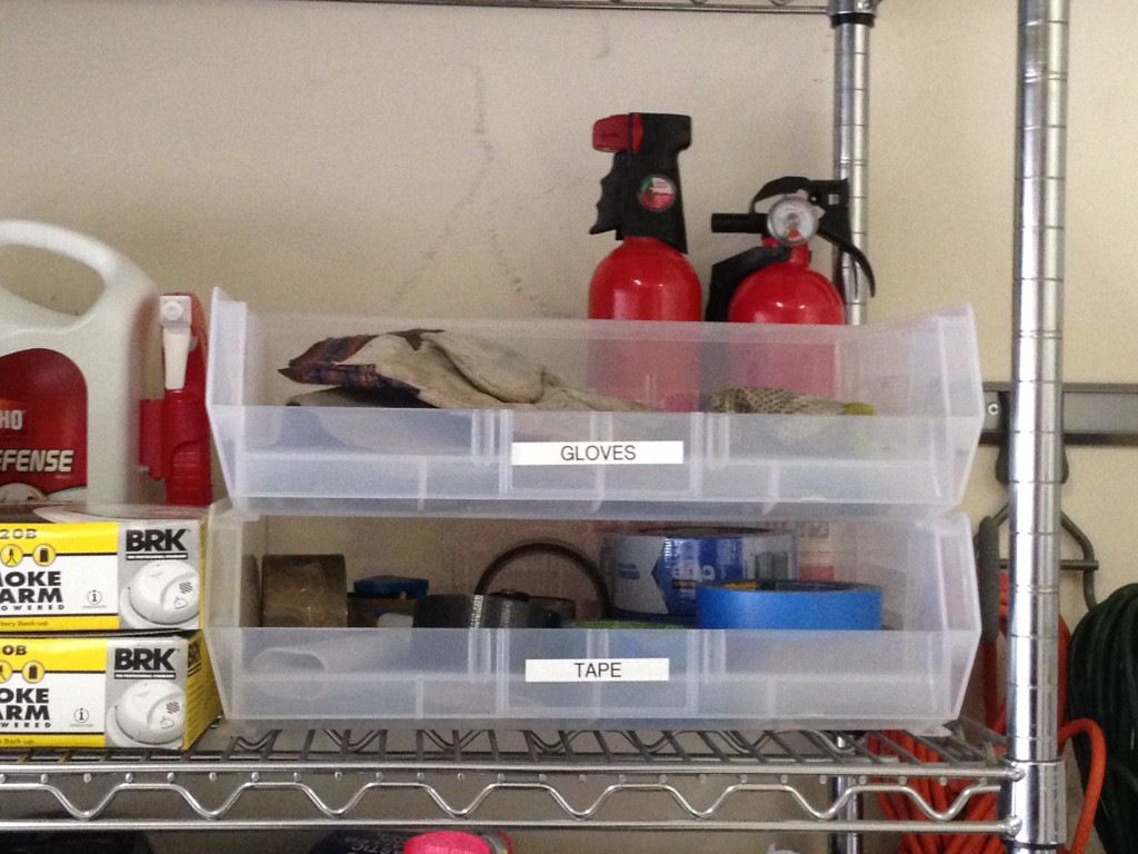 A Jones For Organizing garage gloves open bins for easy access to often-used things
