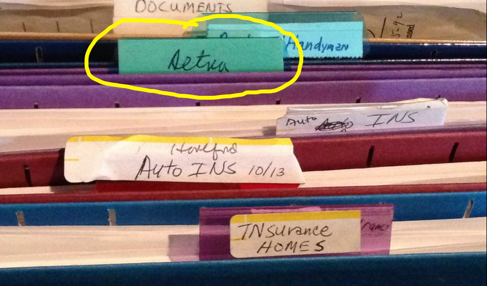 File with Aetna label - A Jones For Organizing