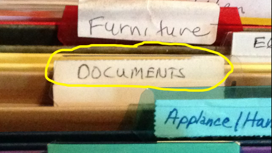 File with Documents label - A Jones For Organizing